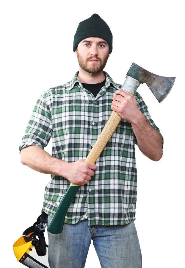 Lumberjack portrait. Fine portrait of young caucasian lumberjack with axe stock photos