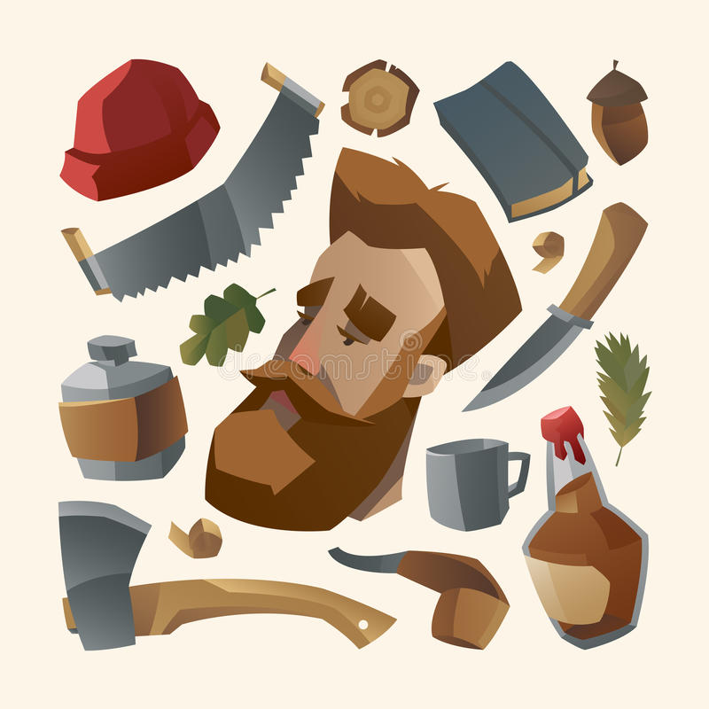 Lumberjack with red beard and his stuff vector illustration