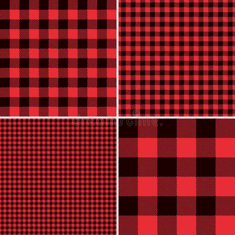 Lumberjack Red Buffalo Check Plaid and Square Pixel Gingham Patterns vector illustration