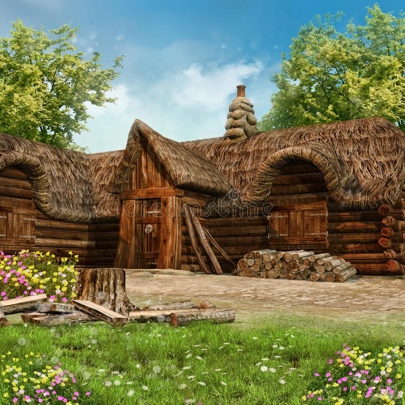 Lumberjack's cottage. Old lumberjack's cottage on a green meadow with spring flowers royalty free illustration