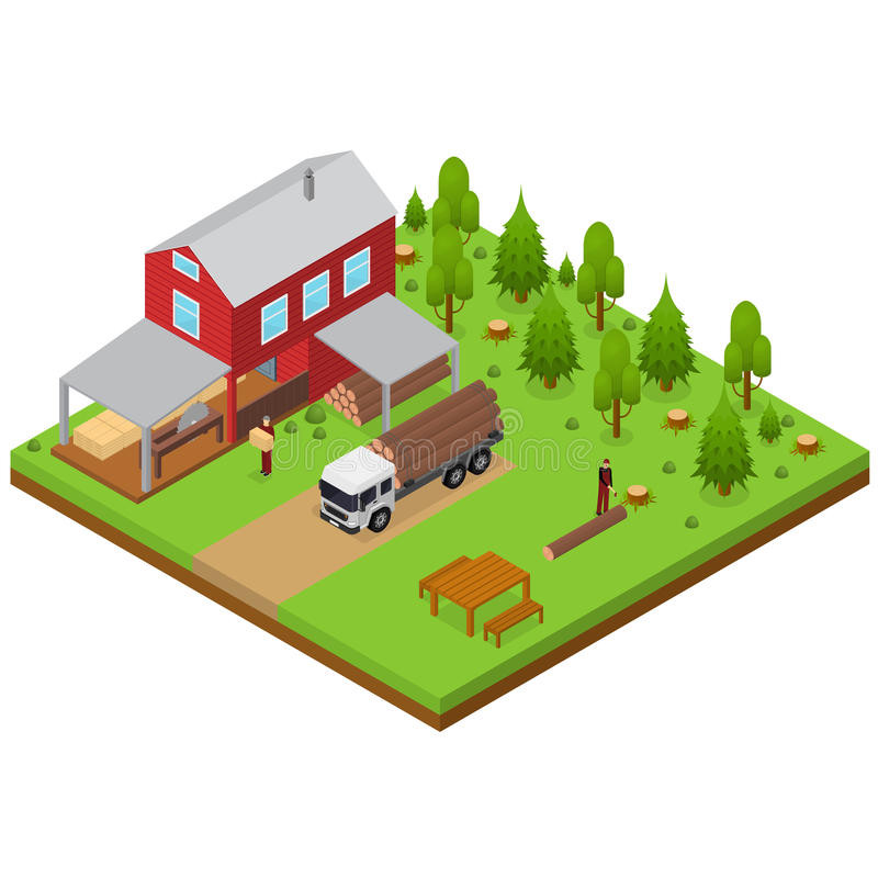 Lumberjack and Sawmill Building Isometric View. Vector vector illustration