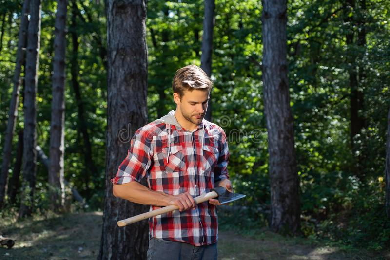 Lumberjack standing with axe on forest background. Deforestation is a major cause of land degradation and royalty free stock photos