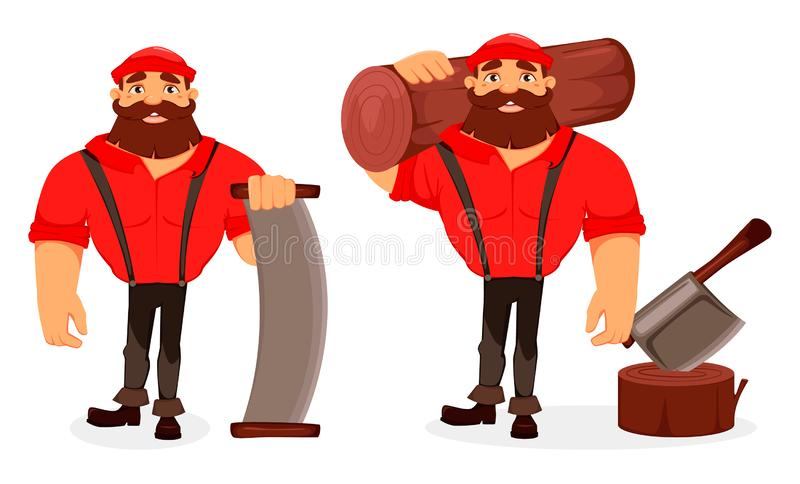 lumberjack Stilig skogsarbetare huvudet för uppnosiga gulliga hundar för bakgrundstecknad filmteckenet isolerade det lyckliga lee vektor illustrationer