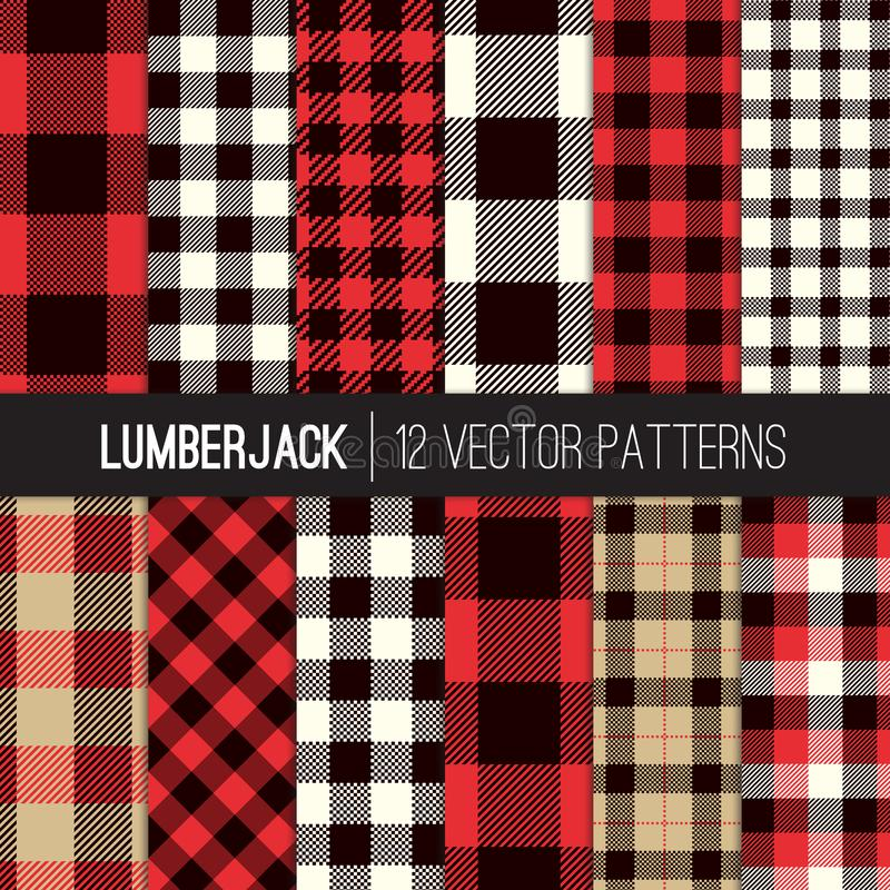 Lumberjack szkocka krata i Bawoliego czeka wektoru Bezszwowi wzory w rewolucjonistce, czerni, bielu i dębniku, ilustracja wektor
