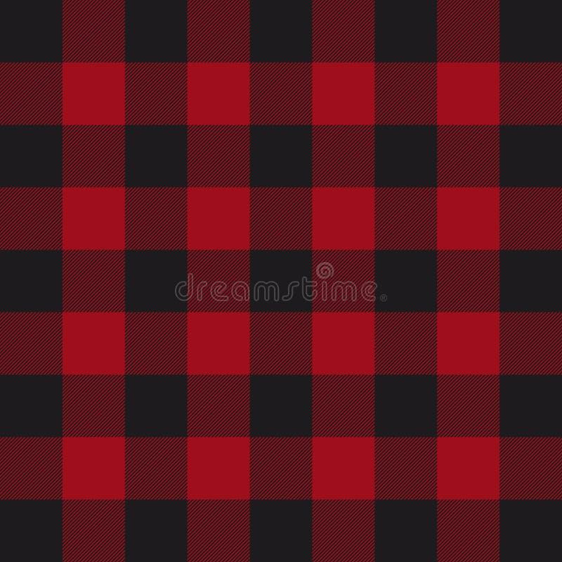 Lumberjack szkockiej kraty wzór Czerwony i Czarny Lumberjack royalty ilustracja