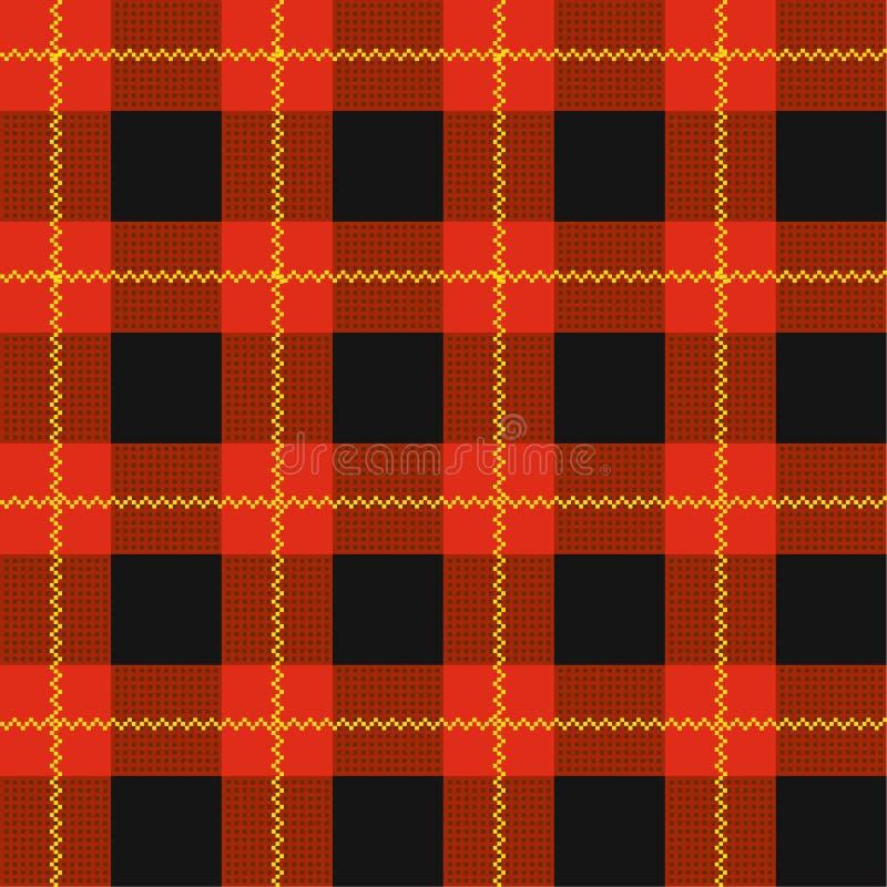 Lumberjack szkockiej kraty wzór  Naprzemianległy pokrywający się czarne i barwione komórki royalty ilustracja
