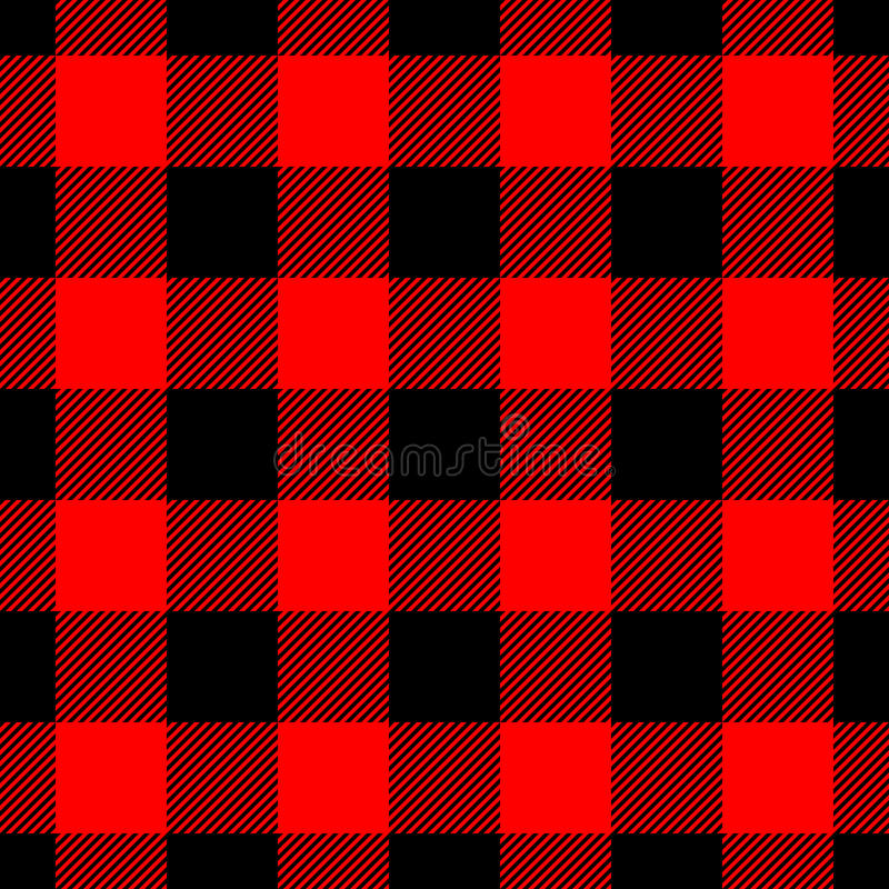 Lumberjack szkockiej kraty wzór w czerwieni i czerni wektor bezszwowy wzoru Prostego rocznika tekstylny projekt royalty ilustracja