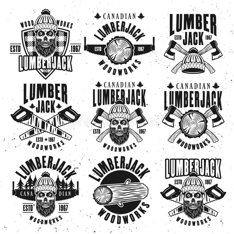 Lumberjack vintage black on white vector emblems stock illustration