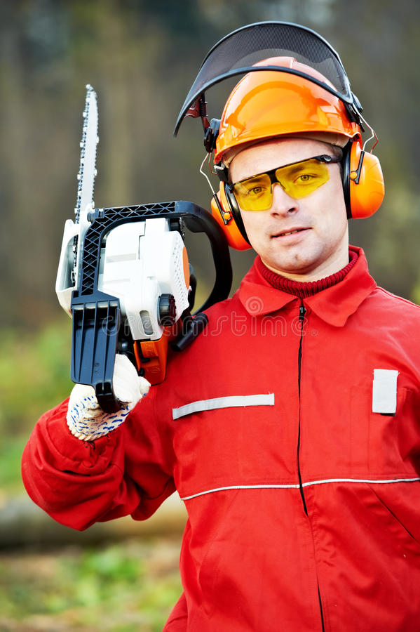 Download Lumberjack Worker With Chainsaw In The Forest Stock Image - Image: 25312495
