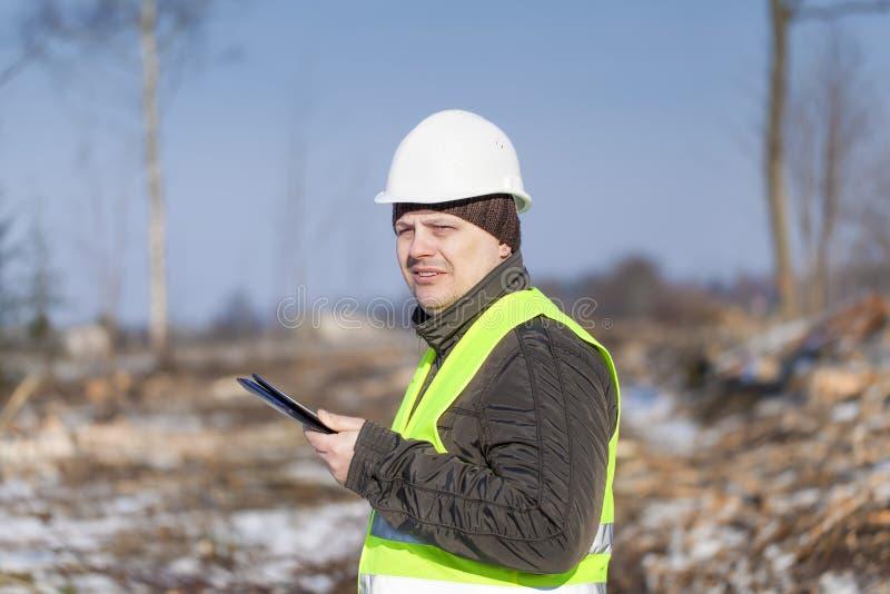 Lumberjack z pastylka pecetem zdjęcia royalty free