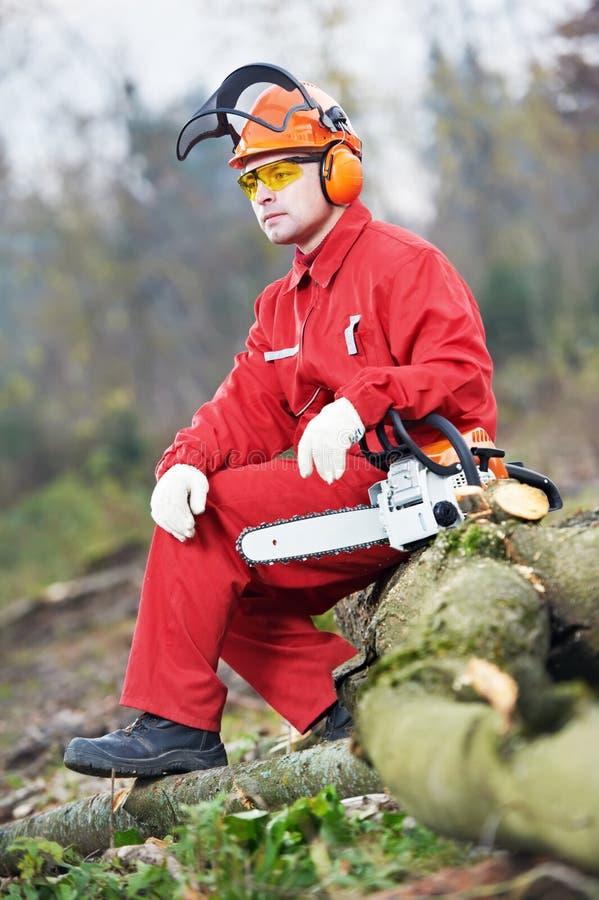Lumberjackarbetare med chainsawen i skogen arkivfoton