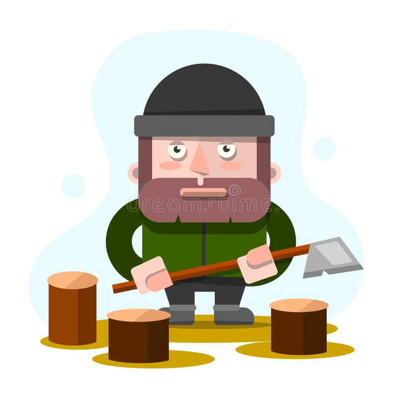 Lumberman, Lumberjack, Woodcutter, Ax, Cartoon Vector Illustration isolerad på vit bakgrund Full längd royaltyfri illustrationer