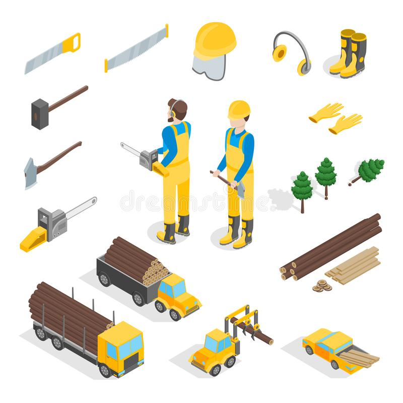 Lumberman Woodcutter Signs 3d Icons Set Isometric View. Vector vector illustration