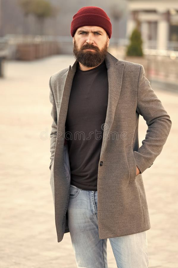 Lumbersexual style. Hipster outfit and hat accessory. Stylish casual outfit spring season. Menswear and male fashion. Concept. Man bearded hipster stylish stock images