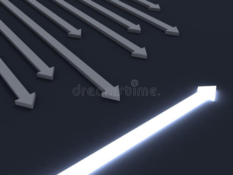 Lumière à travers la flèche. concept d'affaires d'individualité illustration libre de droits