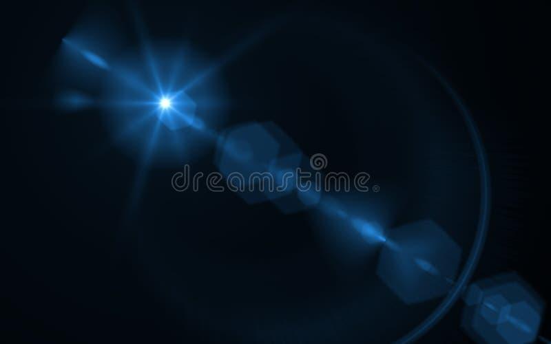 Lumière abstraite de fusée de lentille au-dessus de fond noir le soleil éclaté sur le noir illustration libre de droits