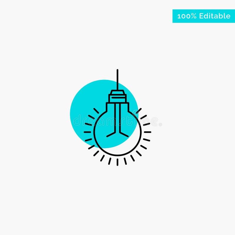 Lumière, ampoule, idée, astuces, icône de vecteur de point de cercle de point culminant de turquoise de suggestion illustration de vecteur
