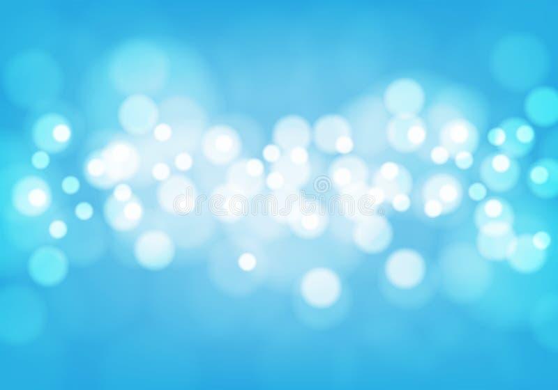 Lumière blanche abstraite de bokeh sur le vecteur bleu de fond illustration de vecteur