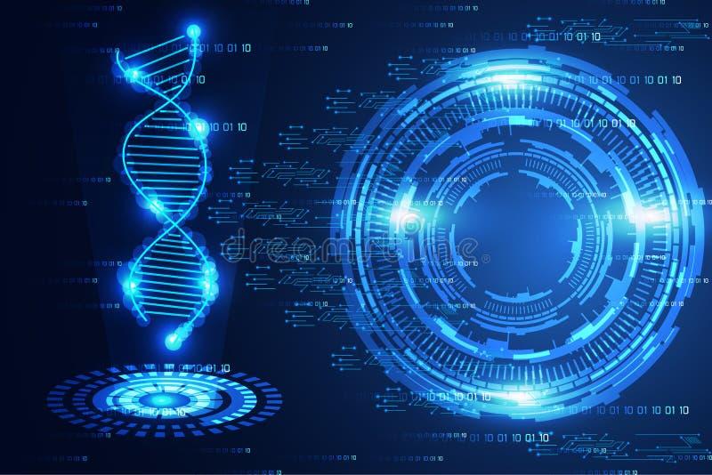 Lumière bleue de technologie de la science de cercle moderne abstrait de concept et illustration stock