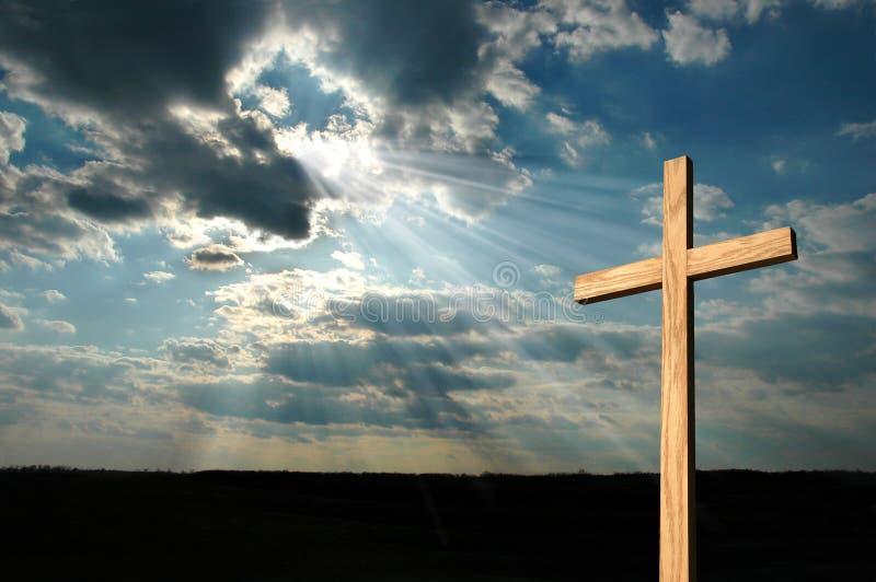 Lumière brillant sur la croix images stock