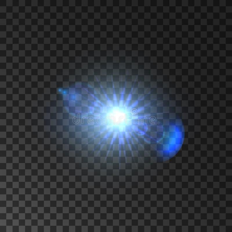 Lumière brillante d'étoile avec l'effet de fusée de lentille illustration stock