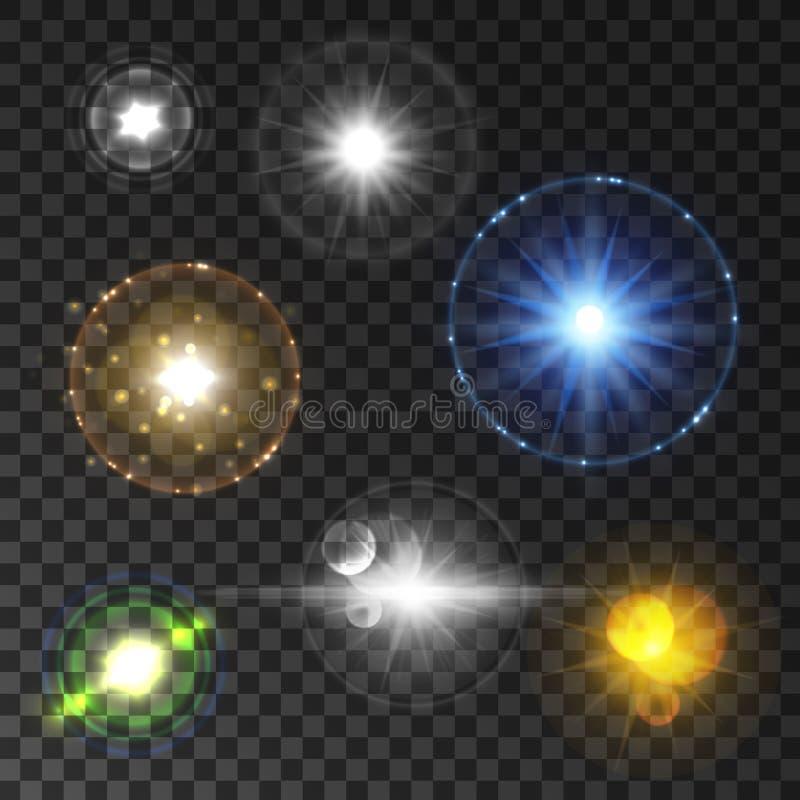 Lumière brillante d'étoile et de soleil avec l'effet de fusée de lentille illustration libre de droits