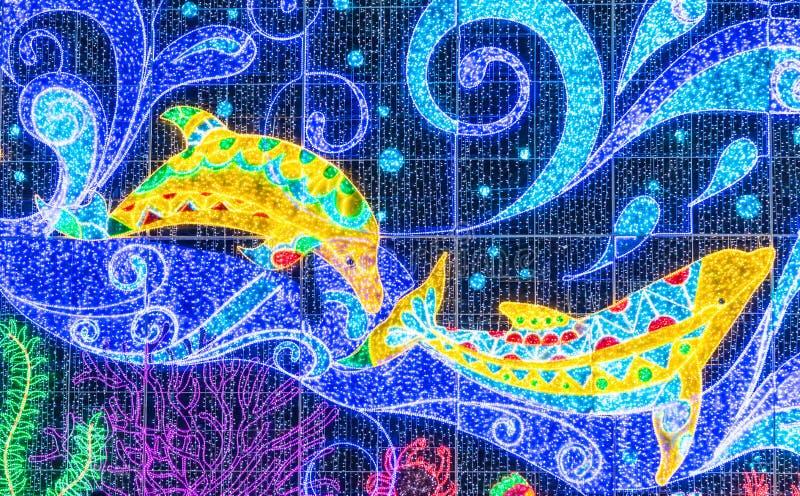 Lumière d'or abstraite de dauphin sur le fond mené illustration stock