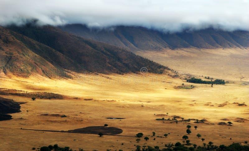 Lumière d'estuaire dans le cratère de Ngorongoro photographie stock libre de droits