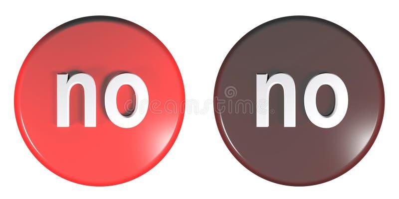 Lumière de cercle et illustration rouge foncé de rendu de NO- 3D de boutons poussoirs illustration stock