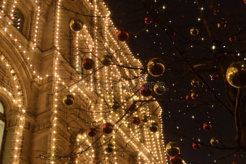 Lumière de Noël à Moscou photo stock