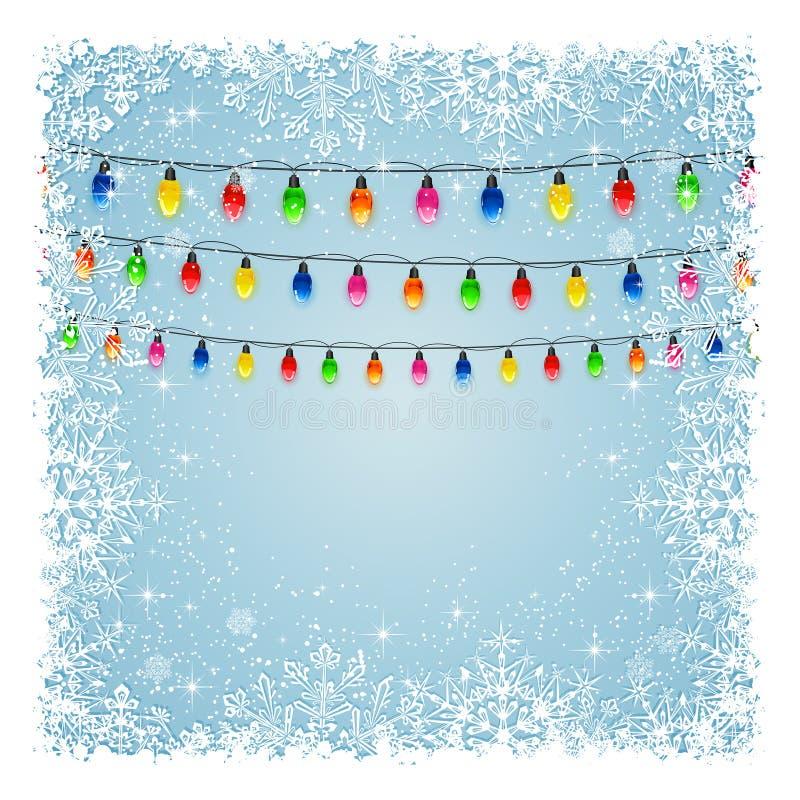 Download Lumière De Noël Avec Des Flocons De Neige Illustration de Vecteur - Illustration du conception, illustration: 56485346