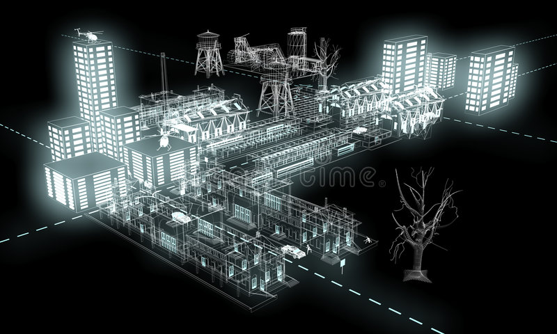 Lumière de nuit dans la ville 3 illustration stock