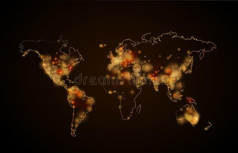 Lumière de nuit dans les villes sur la planète, vue de carte du monde de l'espace illustration stock