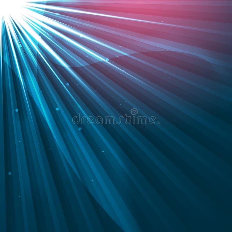 Lumière de Sun en ciel - fond abstrait futuriste dans le bleu - la science et étoiles tombant - nova soutenu illustration de vecteur