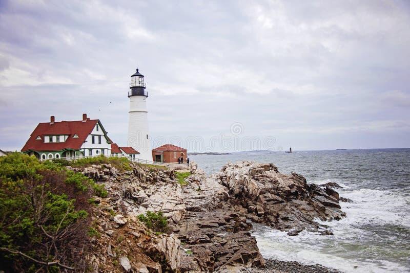 Lumière de tête de Portland de phare de Maine images libres de droits