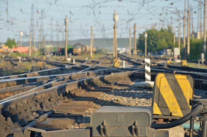 Lumière du jour defocused ferroviaire photo libre de droits