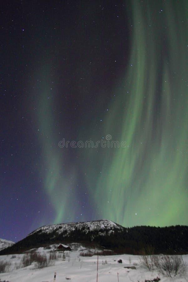Lumière du nord au-dessus de Haukland images stock