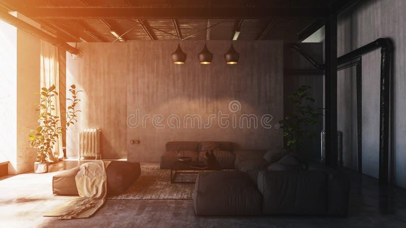 Lumière du soleil dans le salon spacieux de grenier illustration de vecteur