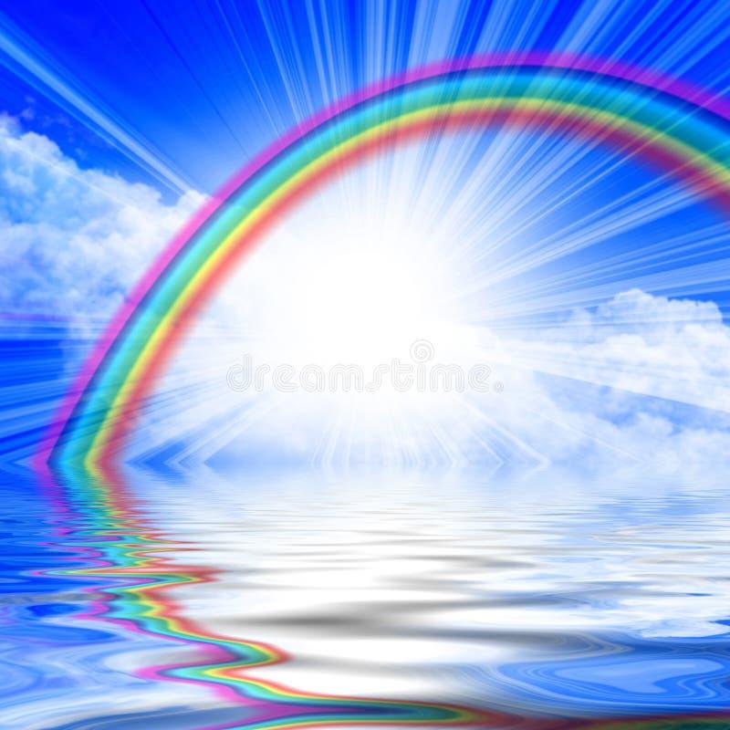 Lumière du soleil dans un ciel bleu clair illustration stock