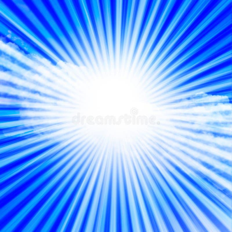 Lumière du soleil dans un ciel bleu clair illustration de vecteur