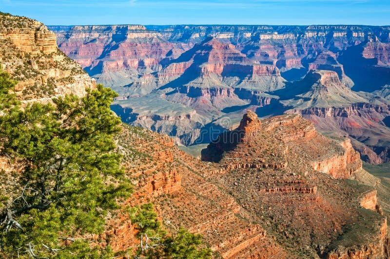 Lumière du soleil de matin brillant sur les formations de roche dans Grand Canyon photographie stock libre de droits