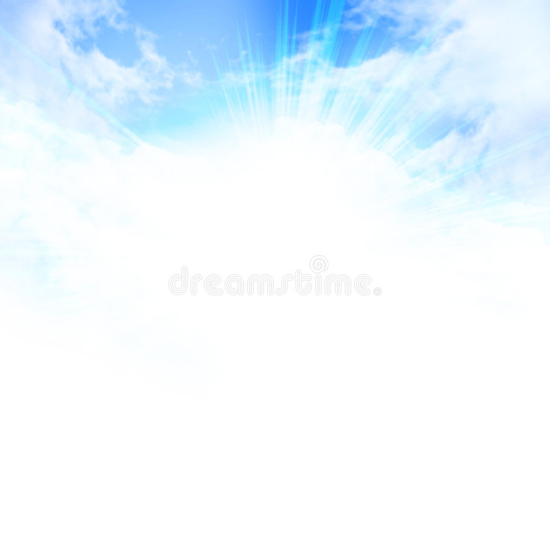 Lumière du soleil en ciel bleu clair illustration libre de droits