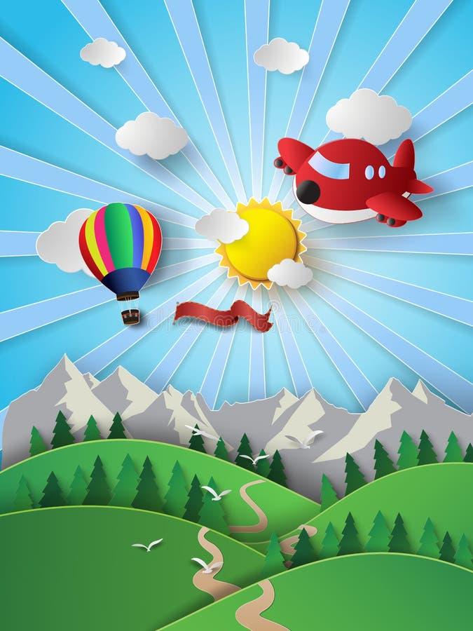 Lumière du soleil sur le nuage avec le ballon à air et l'avion chaud illustration de vecteur