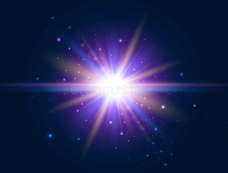 Lumière futuriste Effet rougeoyant Fusée colorée de lentille Conception de lumière d'éclat étoile d'explosion Illustration de vec illustration libre de droits