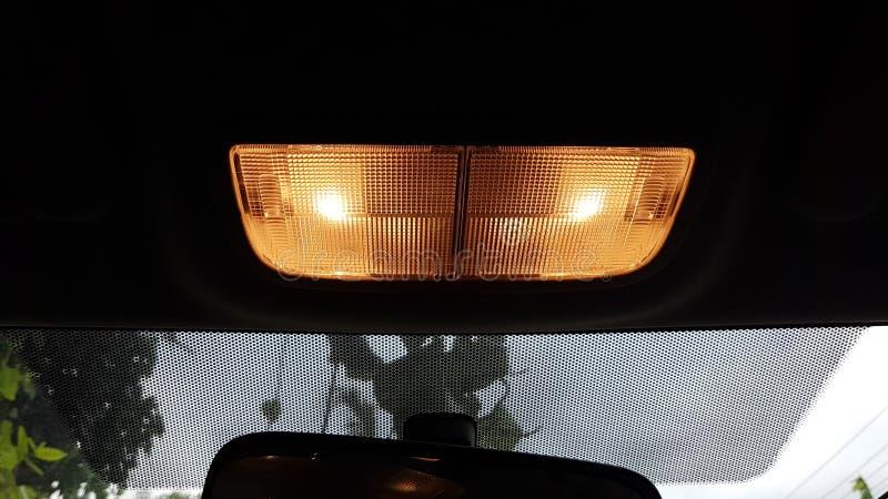 Lumière jumelle de LED sur le plafond de la voiture image libre de droits