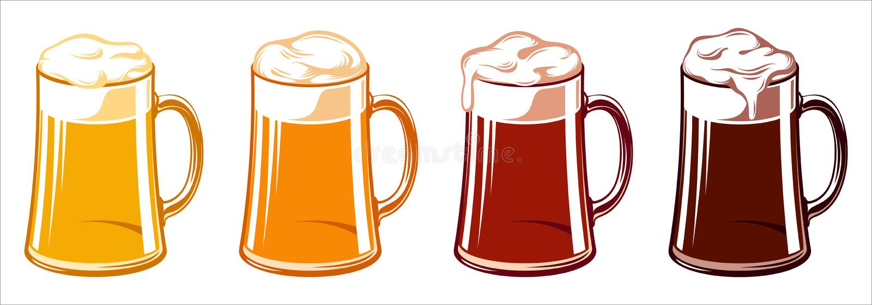 Lumière Lager Stout Porter Ale Oktoberfest de Tankard de tasses en verre de bière illustration stock
