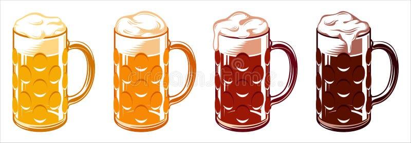 Lumière Lager Stout Porter Ale Set d'Oktoberfest de tasses en verre de bière illustration libre de droits