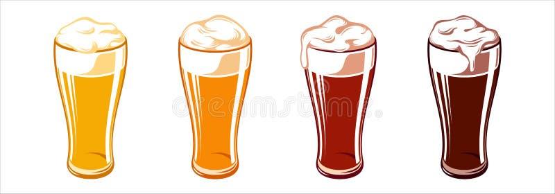 Lumière Lager Stout Porter Ale Set de Weizen de tasses en verre de bière illustration de vecteur