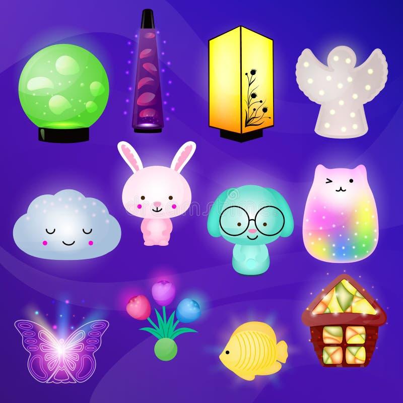 lumière-lampe nocturne d'enfants de vecteur de Nuit-lampe dans l'ensemble d'illustration de chambre à coucher de nuit de allumage illustration stock