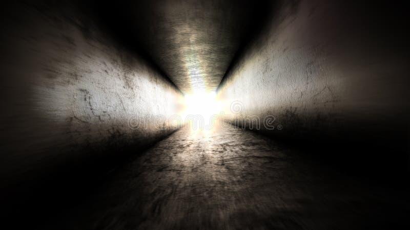 Lumière lumineuse à la fin du Entrez dans la lumière images libres de droits
